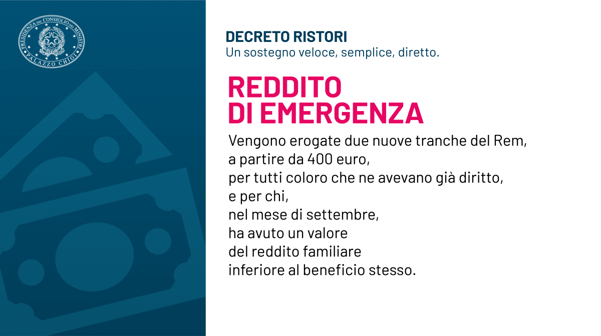 Reddito di emergenza (REM) : sarà riconosciuto anche a novembre e dicembre