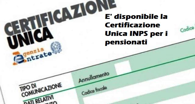 Modello CU INPS 2021 : E' disponibile per i pensionati